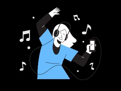 聴いている音楽は一時停止する