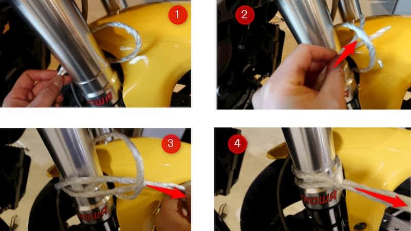 バイク台風対策ロープの取り方