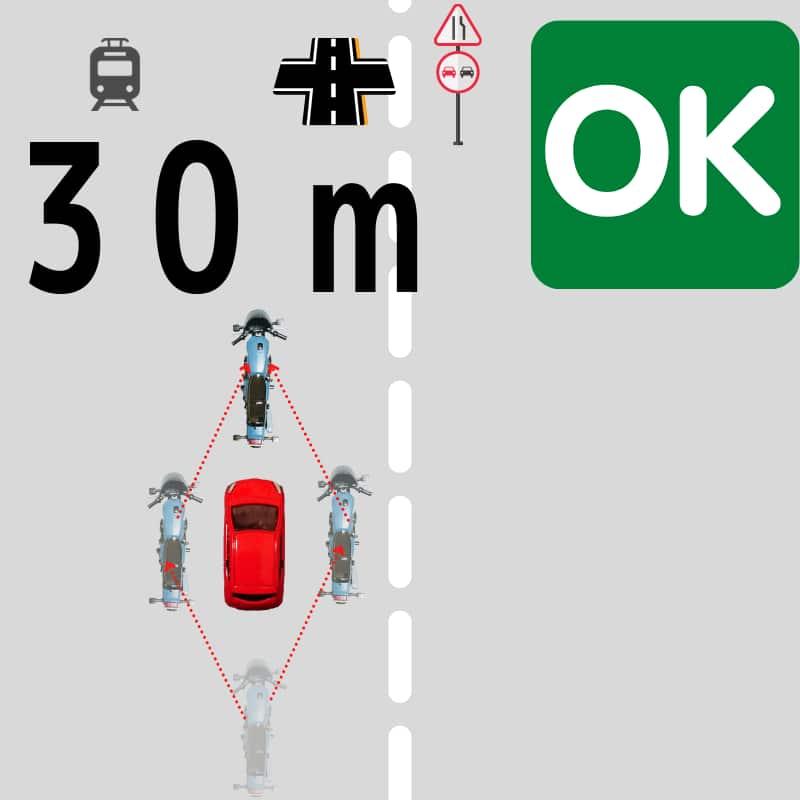 横断歩道の30m手前でなければ追い抜きは合法