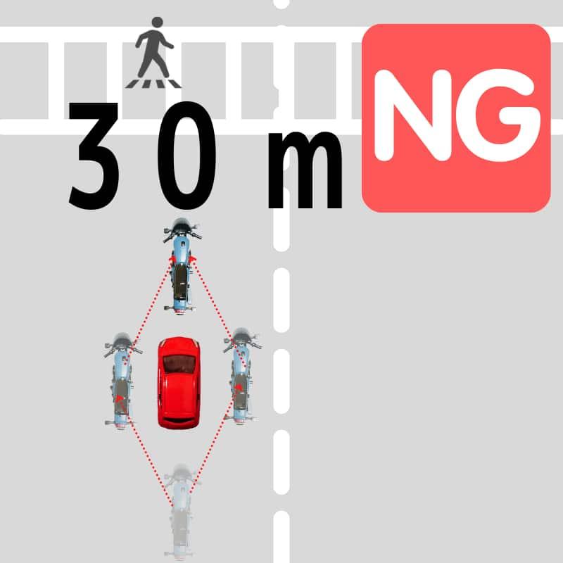横断歩道の30m手前では追い抜きも違法