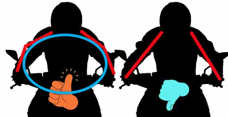 グリップを外側から斜めに握る【バイクコーナリング練習の基本のフォーム、乗車姿勢】