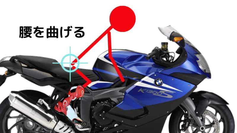 腰を曲げる(好みで背中も)【バイクコーナリング練習の基本のフォーム、乗車姿勢】