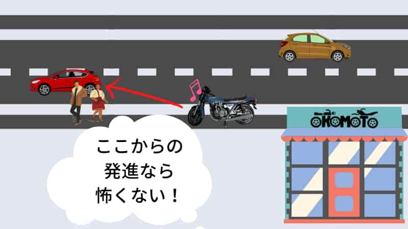 タイヤ交換でバイク屋から出た直後に転倒しない方法