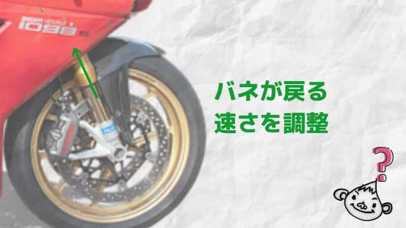 フロント伸び側(リバウンド)~バイクサスセッティングで遊ぼう!サスペンション調整~