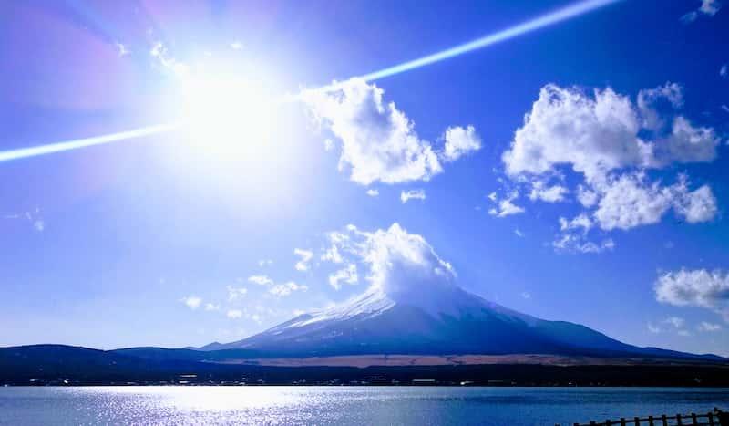 山梨ドライブツーリング山中湖から見る富士山