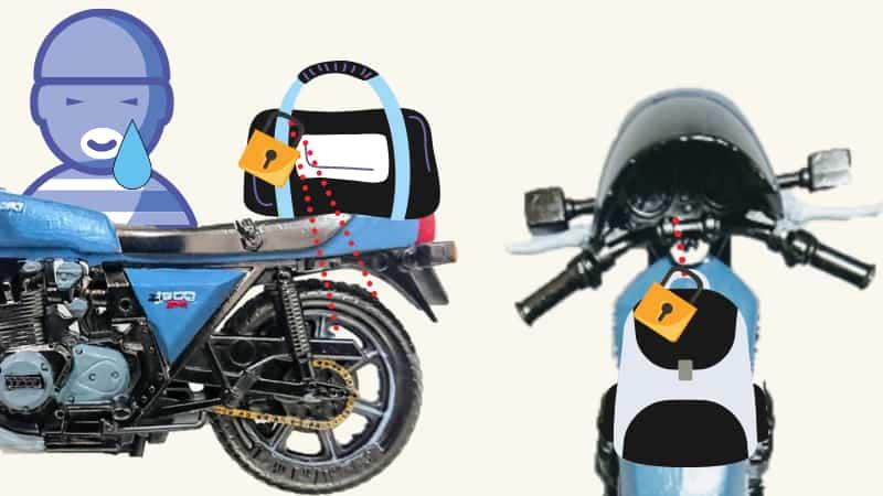 休憩のときはシートバッグ、タンクバッグにダイヤルロックをかける