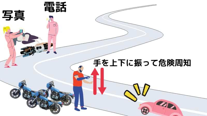転倒した人が動けない場合【バイク事故周りの安全確保最優先】