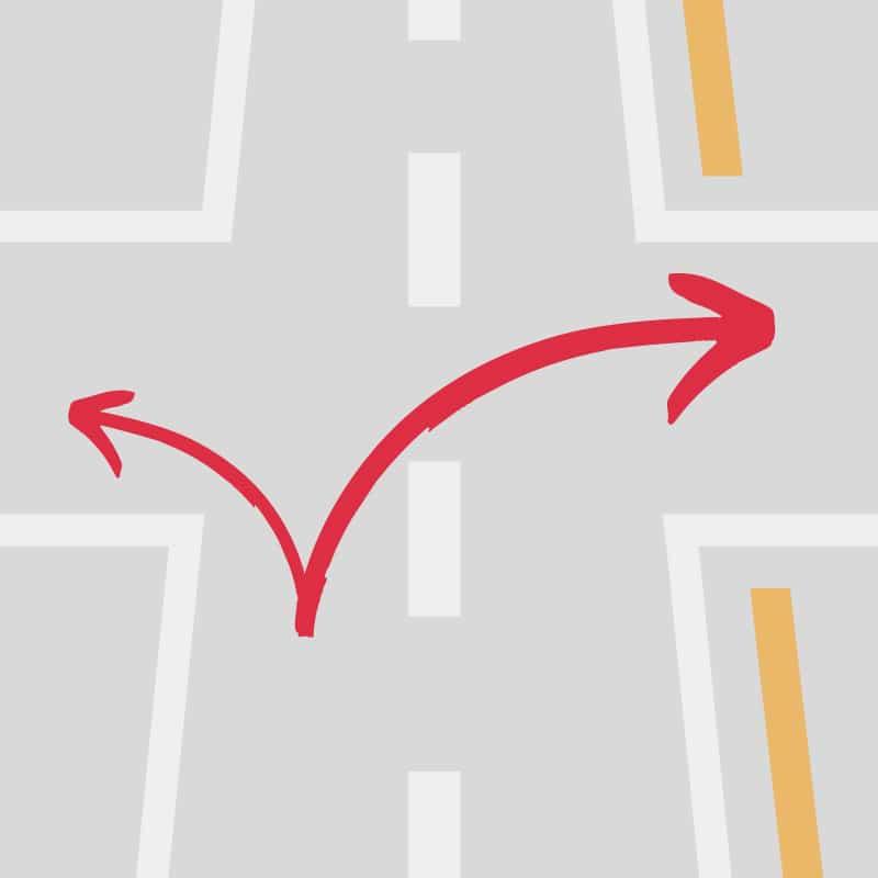 日本は左側通行なので右折が長い