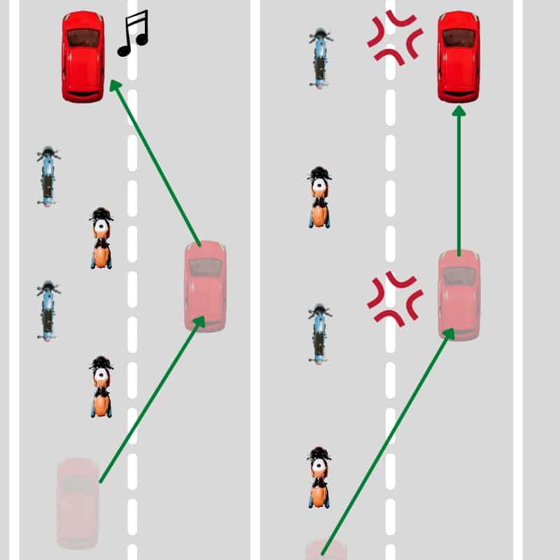 車列が短くなるので周りの車に迷惑をかけない【千鳥走行のメリット】