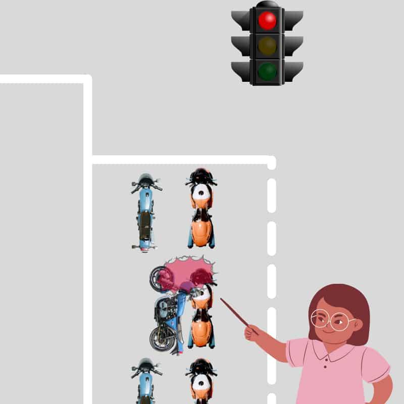 信号などでの一般的な千鳥走行の止まり方