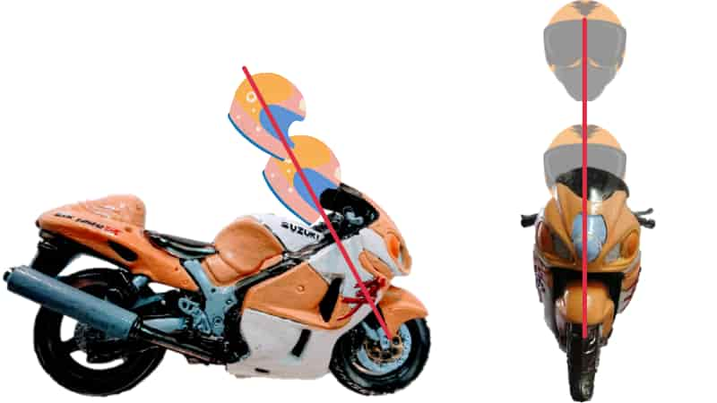 頭の位置はトップブリッジの上から外さない【バイクコーナリング練習の基本のフォーム、乗車姿勢】