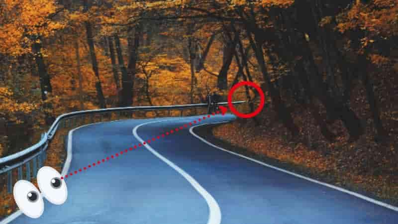 目線はガードレールの端に送り続ける【バイクコーナリング練習の基本のフォーム、乗車姿勢】