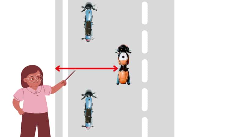 左右の車間距離を保てる【千鳥走行のメリット】
