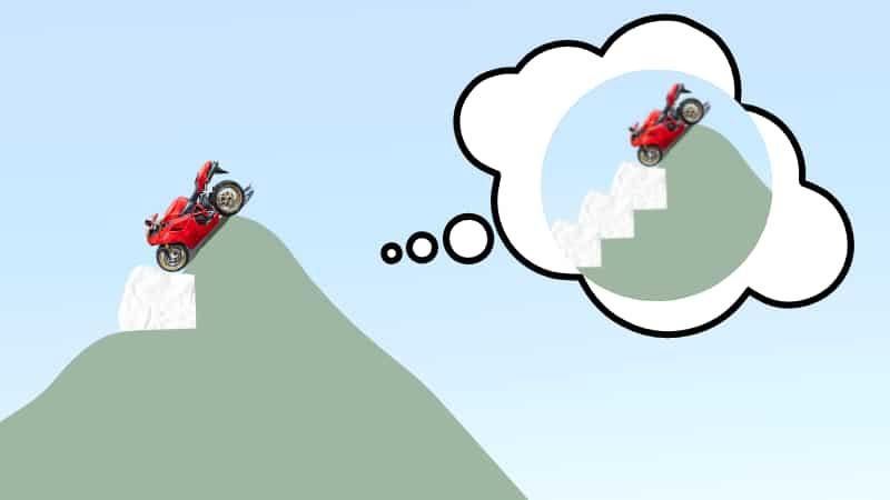 バイクで雪道が出現したときの対処方法【下り坂】