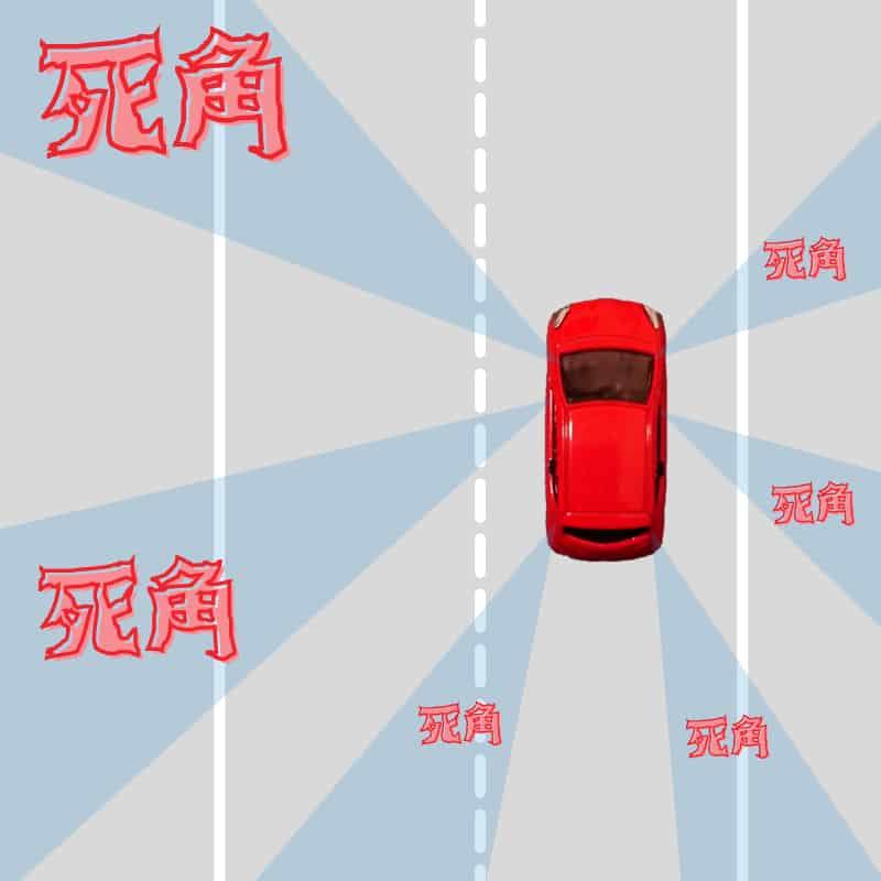 車のフレームが邪魔で見えない範囲