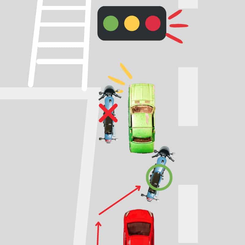 すり抜けのときは左折車の左で待たない