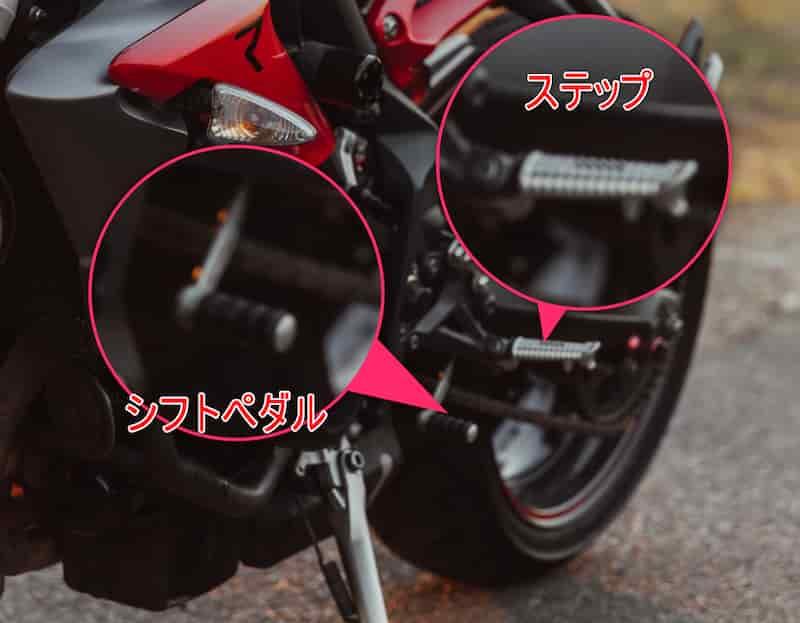 自転車の変速機と同じようなギアをコントロールするのが左足のシフトペダル【バイクの乗り方】