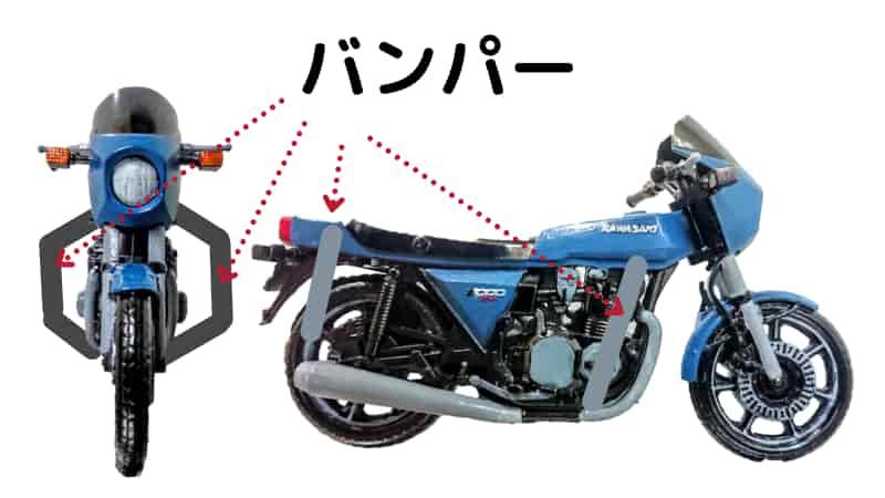 ハンドルの先とリアバンパーを持つ【バイクの起こし方のコツ】
