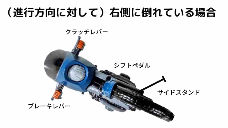 バイクが倒れているのは右側が下か、左側が下か【バイクの起こし方のコツ】