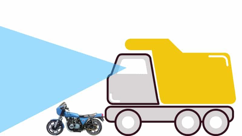 大型トラックの前に出ると死角になるのでバイクは轢かれる